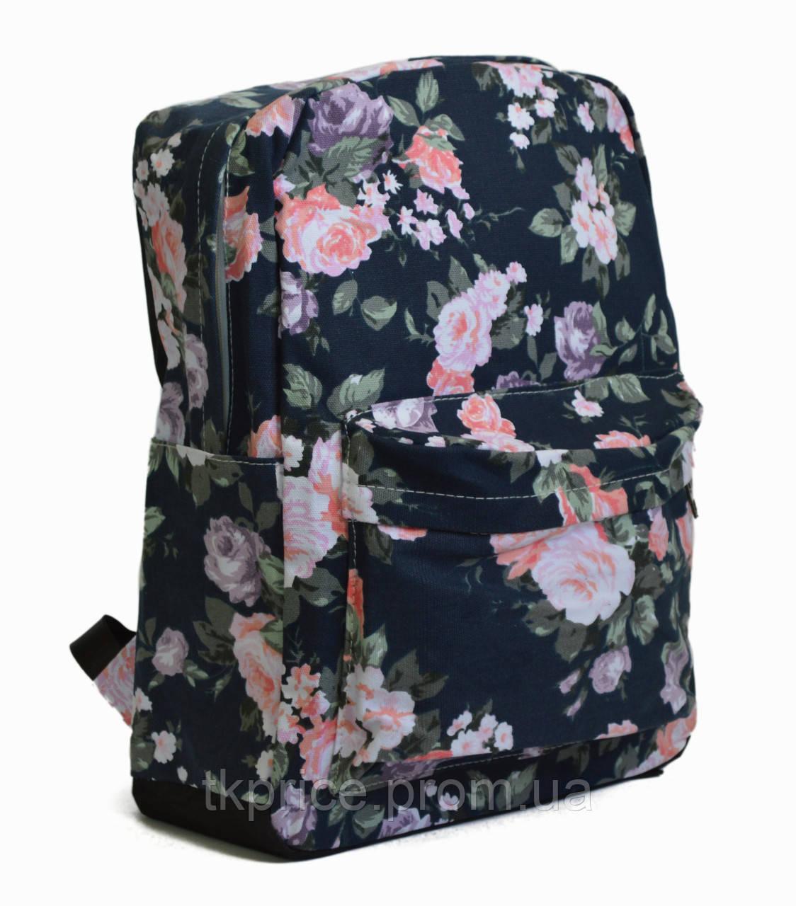 8848432266b5 Хлопковый Рюкзак для Школы и Прогулок с Цветочным Принтом Синий — в ...