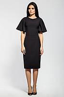 Классическое платье-футляр черного цвета с расклешенным рукавом