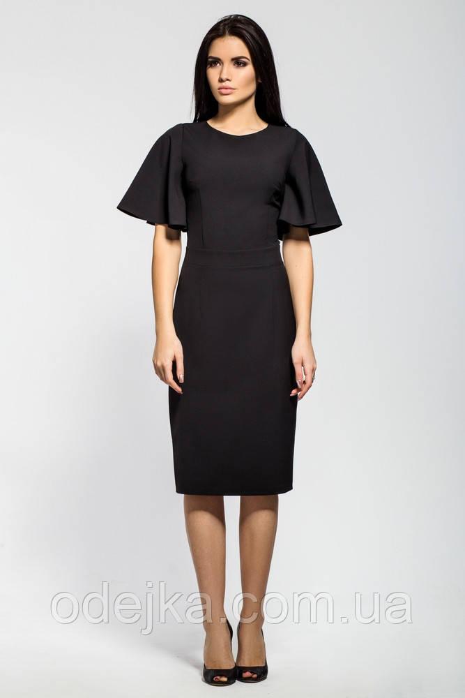 64504311890 Классическое платье-футляр черного цвета с расклешенным рукавом -