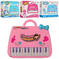 Детская музыкальная игрушка Пианино 9021-22-23-24 в виде сумочки, зв, св, 4 вида, на бат-ке, в кор-ке, 23-20,5