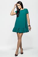 Молодежное зеленое  короткое платье с рюшей