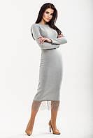 Нежное платье из текстурное ангоры с французским кружевом