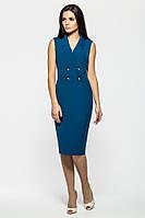 Офисное платье из крепа строгого синего цвета с пуговицами