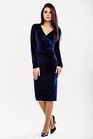 Платье-халат из темно-синего бархата