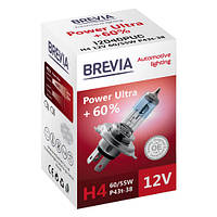 Галогеновая лампа Brevia H4 Power Ultra +60% 12v 60/55w