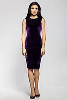 Стильное платье из бархата благородного фиолетового цвета