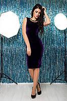 Строгое платье из бархата благородного фиолетового цвета