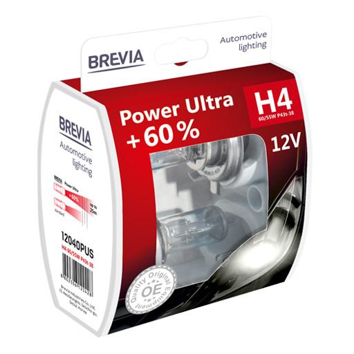 Комплект галогеновых ламп Brevia H4 Power Ultra +60% 12v 60/55w