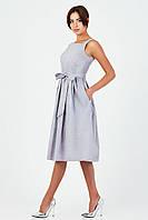 Стильное котоновое платье в серо-белую клетку