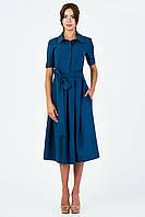 Строгое синее офисное платье с карманами