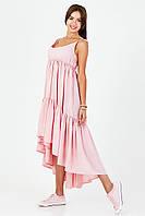 Легкий летний сарафан из штапеля зефирно-розового цвета