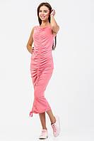 Сарафан с присборкой из розового меланжевого трикотажа