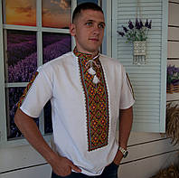Вишита сорочка короткий рукав (домоткане полотно)