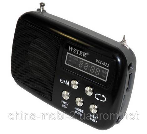 Портативная колонка-радио WS-822 MP3/SD/USB/AUX/FM, фото 2