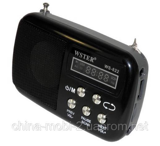 Портативная колонка WS-822 MP3 SD USB AUX FM, фото 2