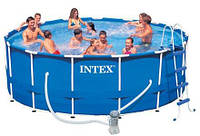 Каркасный круглый бассейн METAL FRAME POOL Intex 28236(54946), бассейн каркасный с полным комплектом 457*122см