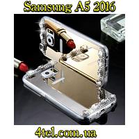 Samsung A5 2016, бампер зеркальный с камушками, Gold