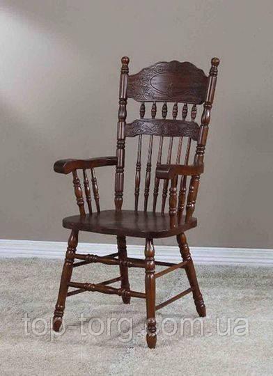 Стілець крісло 828-а -1 темний горіх, з підлокітниками, 828A-1, Баварія-1, дерев'яний, різьблений