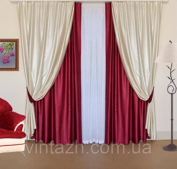 Комплект красивых штор бордового цвета в интернете