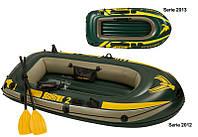 Трехкамерная надувная лодка под транец Intex 68347 SeaHawk-200 Set, лодка надувная 2 местная 236*114*41см