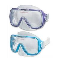 Маска для плавания Sea Scan Swim Intex 55976 2 цвета, детская маска для плавания, маска пловца от 8лет