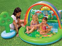 Детский игровой надувной центр-бассейн Intex 57421 Оазис, бассейн с фонтанчиком и навесом 155*130*84см