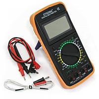 Цифровой профессиональный мультиметр тестер DT-9208A, цифровой мультиметр dt, мультиметр в резиновой подставке