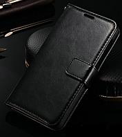 Кожаный чехол-книжка для Xiaomi Redmi Note 2 черный