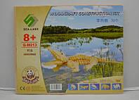 3D пазлы деревянные крокодил (2 маленькие доски), объемный пазл конструктор