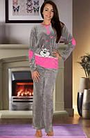 Велюровая пижама (кофта и брюки) (Серый)