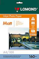 Односторонняя матовая фотобумага для струйной печати, A4, 160 г/м2, 100 листов