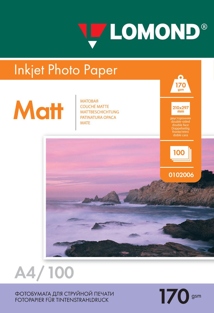 Двусторонняя матовая фотобумага для струйной печати, A4, 170 г/м2, 100 листов
