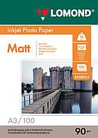 Односторонняя матовая фотобумага для струйной печати, A3, 90 г/м2, 100 листов