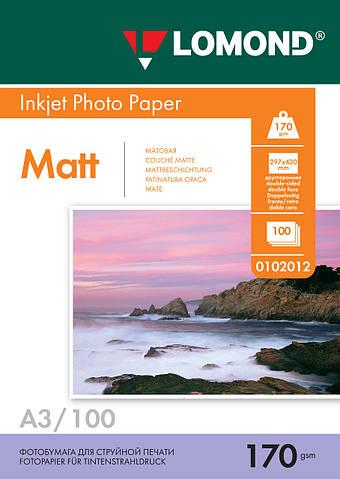 Двусторонняя матовая фотобумага для струйной печати, A3, 170 г/м2, 100 листов