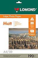 Двусторонняя матовая фотобумага для струйной печати, A4, 190 г/м2, 50 листов