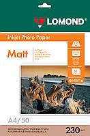 Односторонняя матовая фотобумага для струйной печати, A4, 230 г/м2, 50 листов