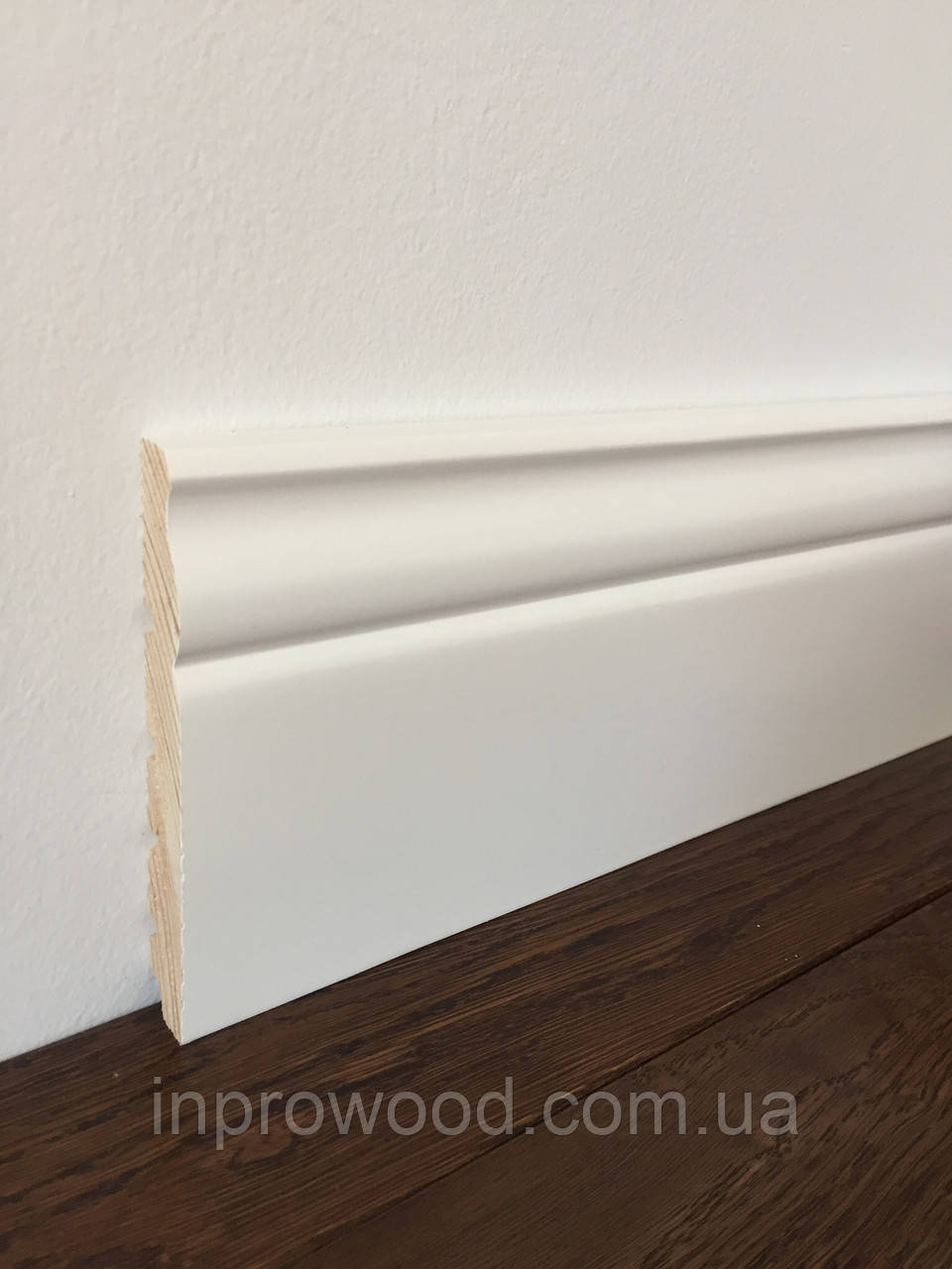 """""""Классик"""" 120х16 мм, Высокий белый деревянный плинтус, Сосна"""