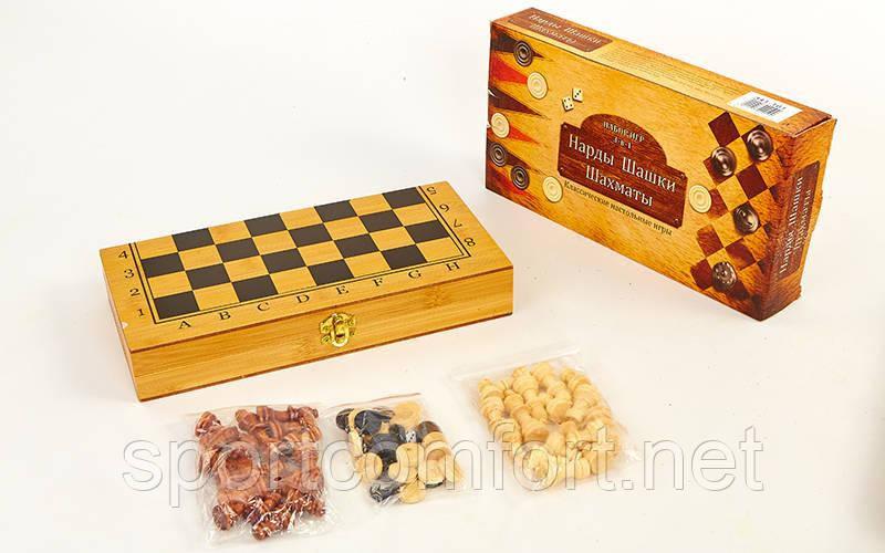 Шахматы, шашки, нарды 3 в 1 бамбуковая доска 40 х 40 см