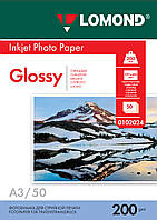 Односторонняя глянцевая фотобумага для струйной печати, A3, 200 г/м2, 50 листов