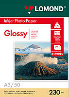 Односторонняя глянцевая фотобумага для струйной печати A3, 230 г/м2, 50 листов