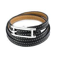 Кожаный браслет Ремешок черный Арт. BS012LR