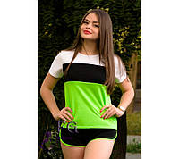 """Спортивный костюм летний """"Silvia"""" - распродажа черный + салатовый, 44"""