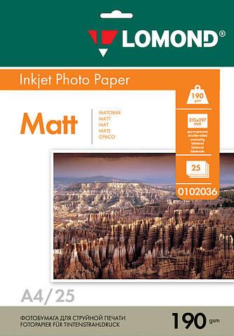 Двусторонняя матовая фотобумага для струйной печати, A4, 190 г/м2, 25 листов