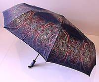 Женский зонт автомат с узорами и цветочным рисунком на 9 карбоновых спиц.