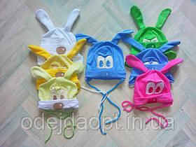 Детская шапка для малышей с ушками и вышивкой