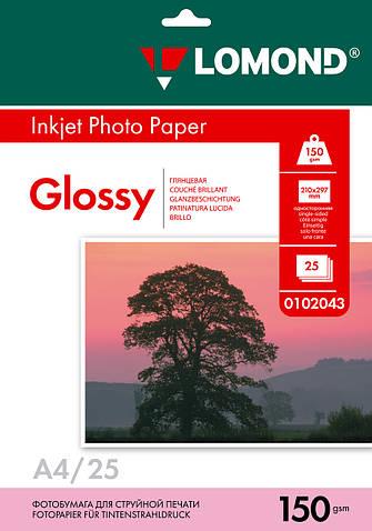 Односторонняя глянцевая фотобумага для струйной печати, A4, 150 г/м2, 25 листов