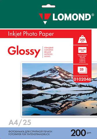 Односторонняя глянцевая фотобумага для струйной печати, A4, 200 г/м2, 25 листов