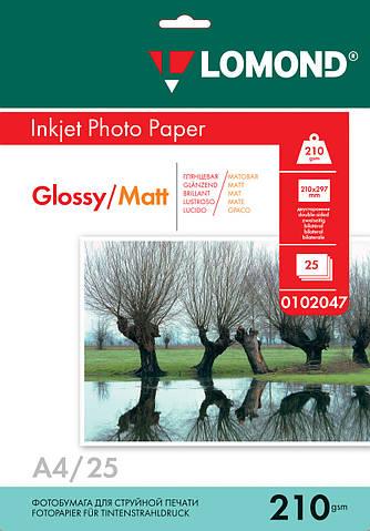 Двусторонняя глянцевая/матовая фотобумага для струйной печати, A4, 210 г/м2, 25 листов