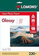 Односторонняя глянцевая фотобумага для струйной печати, A4, 230 г/м2, 25 листов
