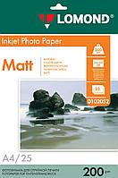 Двусторонняя матовая фотобумага для струйной печати, А4, 200 г/м2, 25 листов